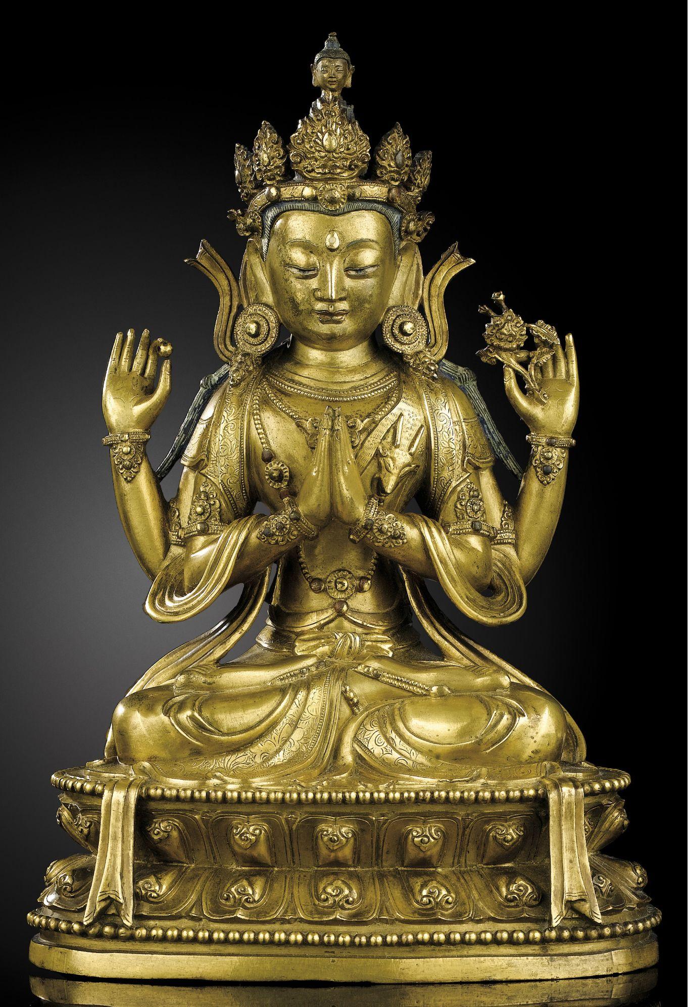 Chinese Old Tibet Temple bronze Tibetan Buddhism Yellow