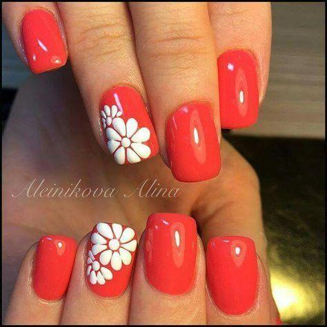 Coral Nails With Flower Nails Nail Art Nail Nail Polish Nail