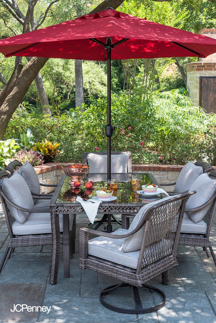 Meet The Patio Set Designed For Anyone Who Loves Hosting Outdoor Dinner Parties Backyard Birthday Celebrations Spring Garde Outdoor Patio Set Patio Set Patio