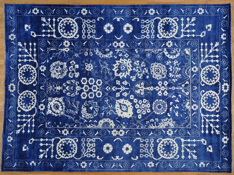9' x 12' Wool and Bamboo Silk Denim Blue Tabriz Oriental Rug Hand Knotted