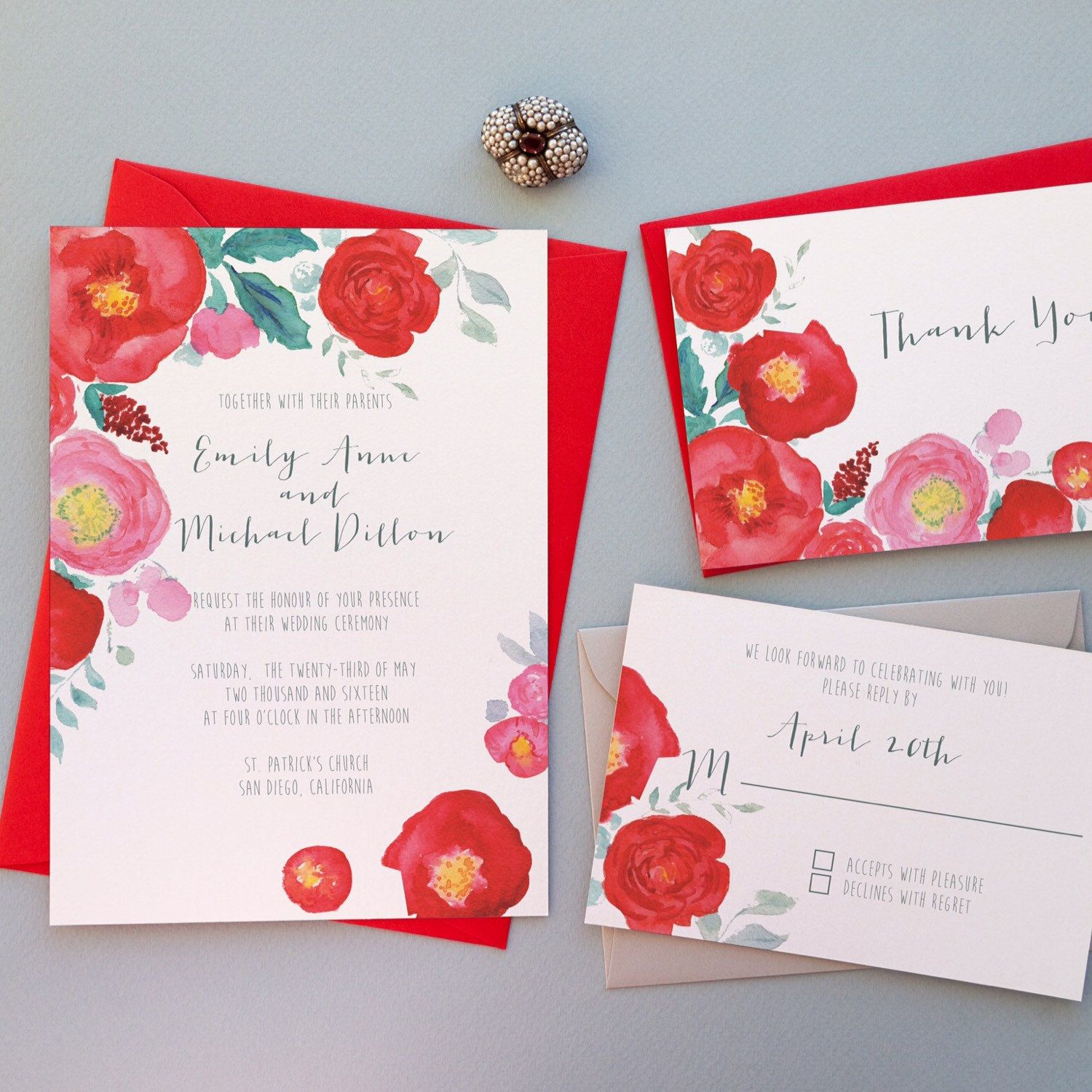 Rustic wedding invitation with red and pink flowers | Red Wedding ...
