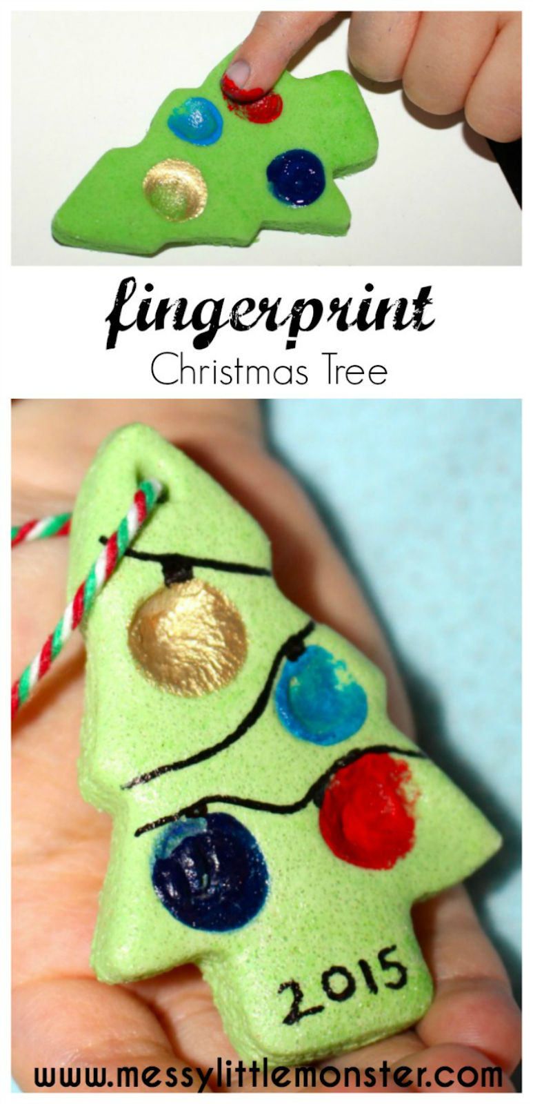 Fingerprint Christmas Tree - Salt Dough Ornament Recipe #christmascraftsforkidstomake