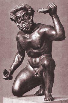 Etruscan kneeling satyr