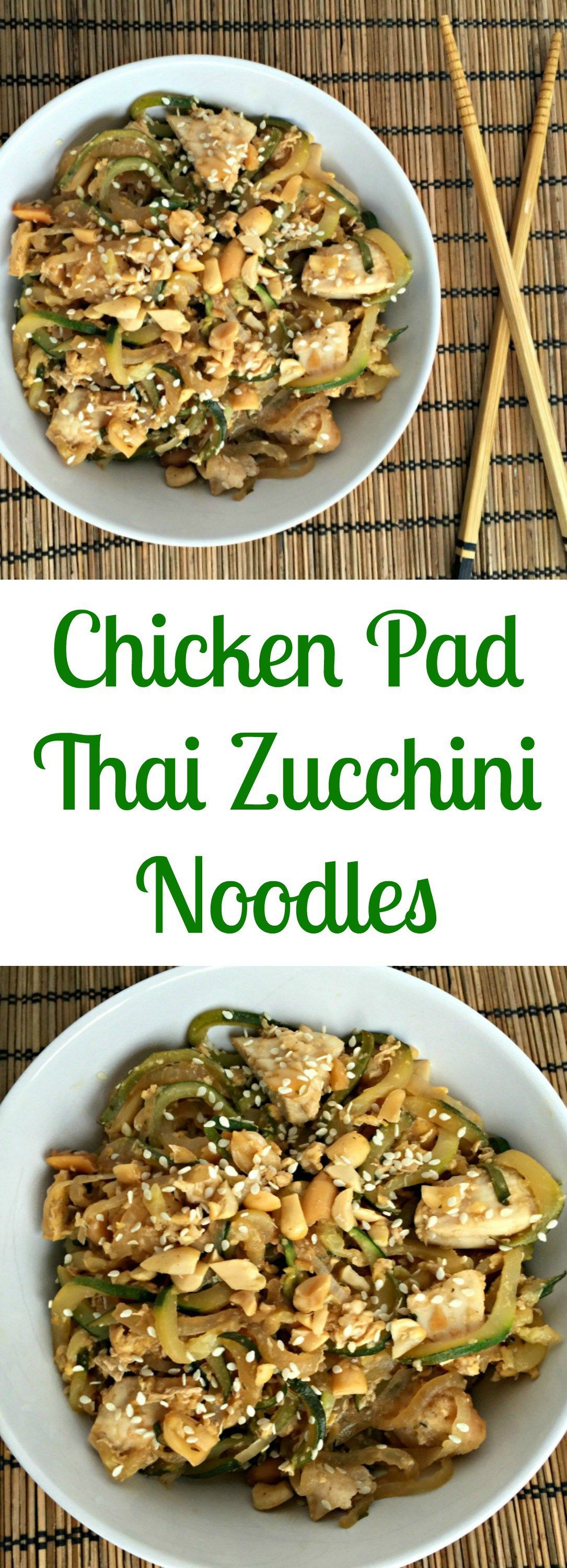 chicken pad thai zucchini noodles with images  zoodle