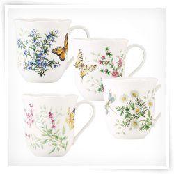 Lenox Erfly Meadow Herbs Mug Set Of 4 Rugs In