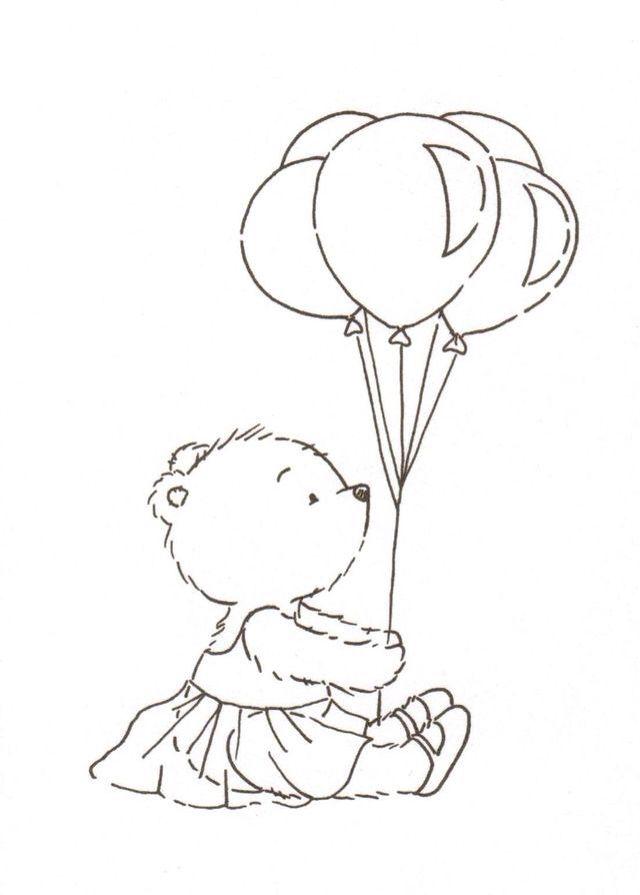 Ursa E Os Balões Desenho Ursinhos Carinhosos Riscos Para