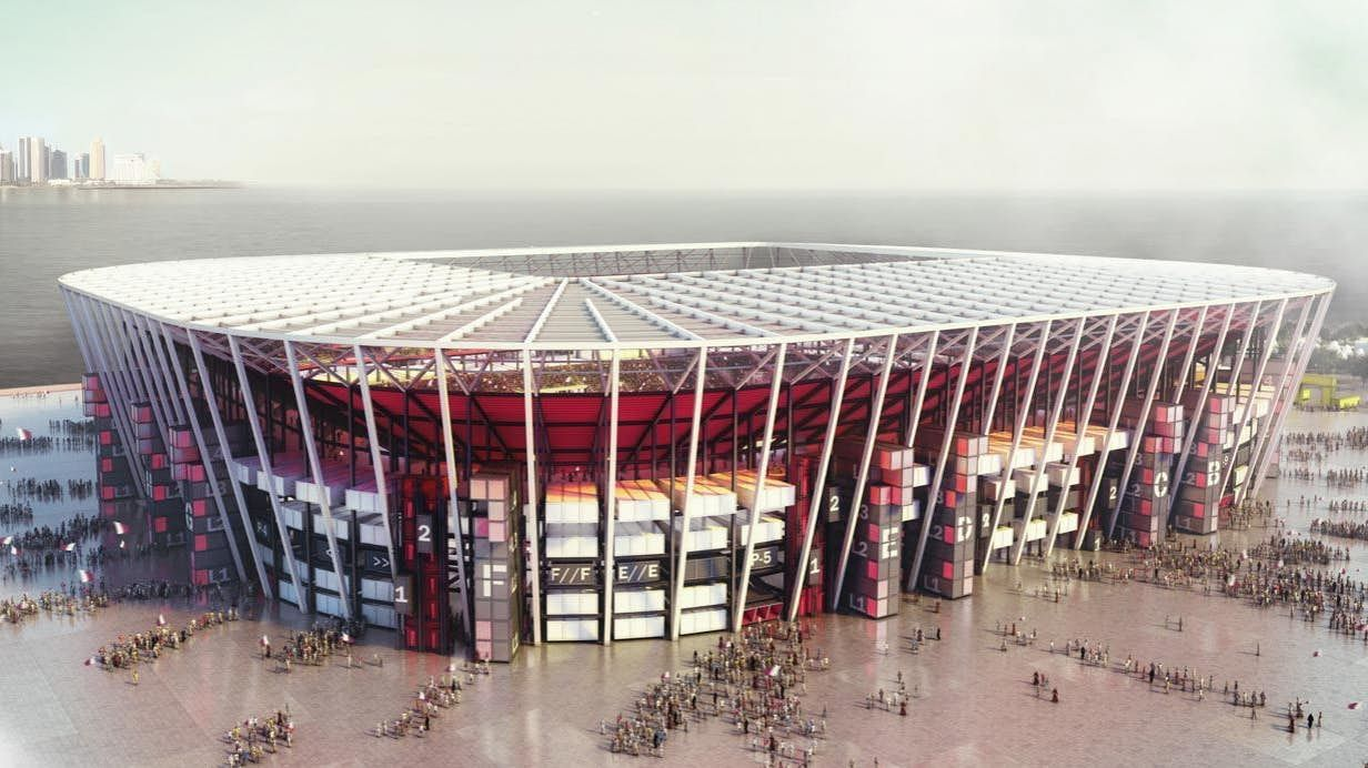 Qatar To Build World S First Demountable Football Stadium Out Of Shipping Containers World Cup Stadiums Stadium World Cup