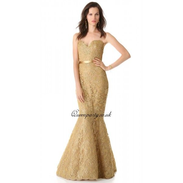 Gold Lace Sweetheart Mermaid Long Prom Dress | Guide For Shopping ...