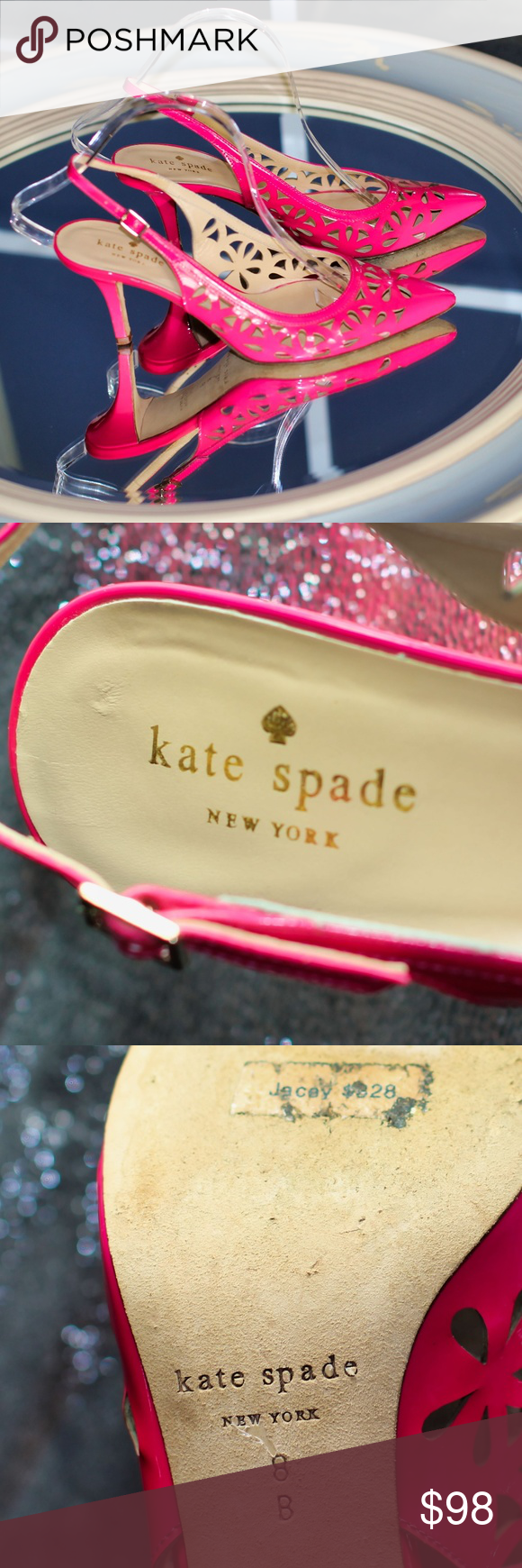 e483925be9f Kate Spade Jacey Cutout Kitten-Heel Slingback The Kate Spade New York Jacey  slingback features