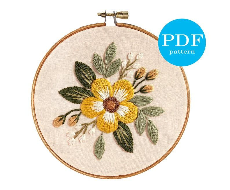 """Earthy Floral Embroidery Pattern. Beginner Embroidery. PDF embroidery pattern. 5"""" hoop. Flower Embroidery pattern. neutral floral embroidery"""