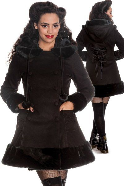 Sarah Jane Black Coat with Black Fur Hood | Ladies Gothic ...