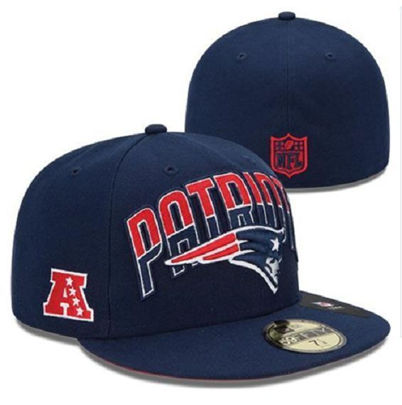 New Era  NFL 59fifty New England  Patriots Blue Fitted Hat Cap Size ... e4fa5dd1817