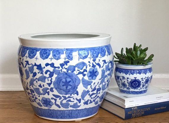 Large Vintage Chinese Fishbowl Planter Blue White By Modrendition