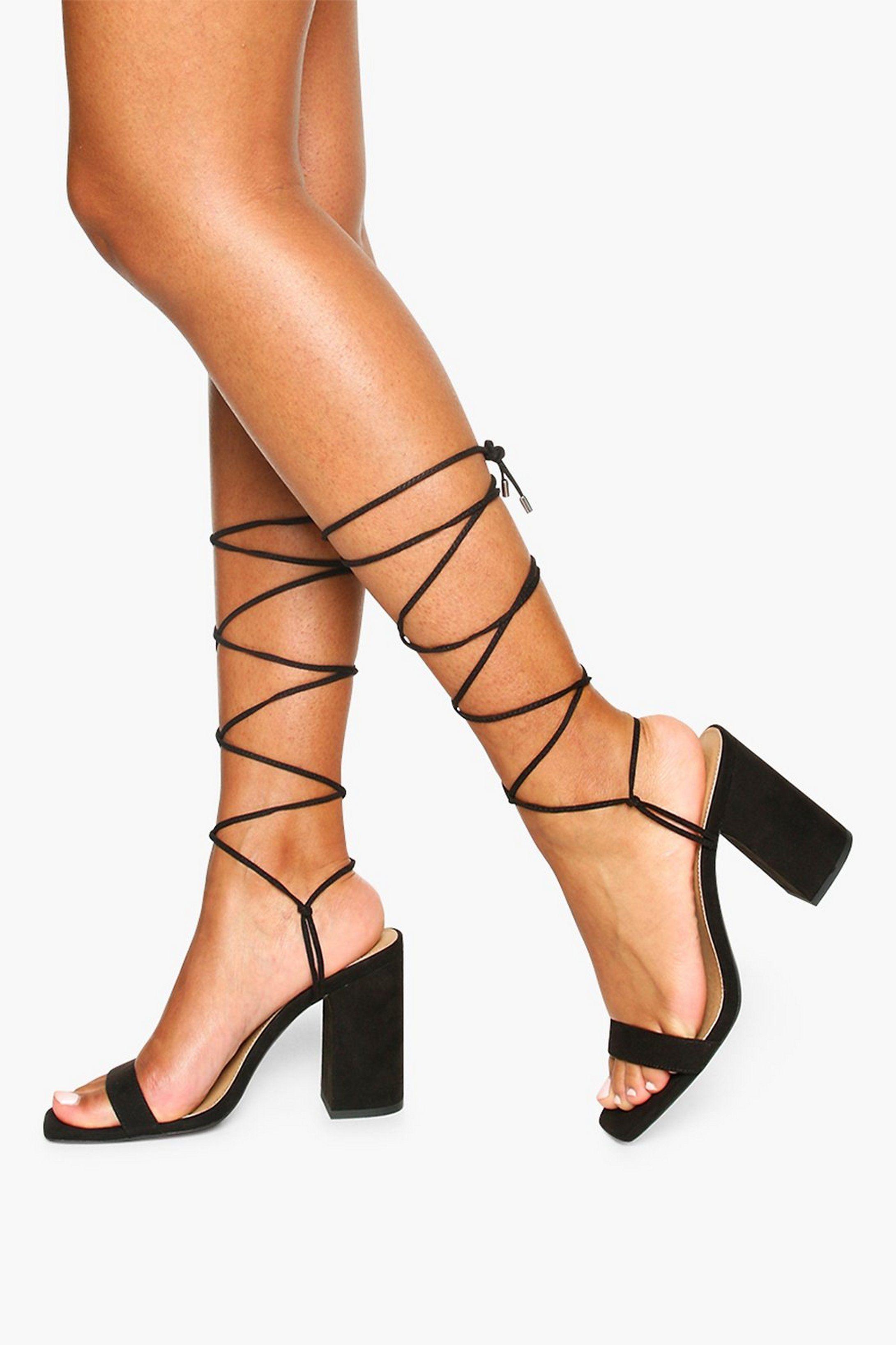 Tie Up Block Heel Sandals