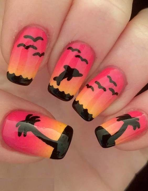 22 Cute Sunset Nail Art Designs for Women | Nails | Pinterest | Sunset nails - 22 Cute Sunset Nail Art Designs For Women Nails Pinterest