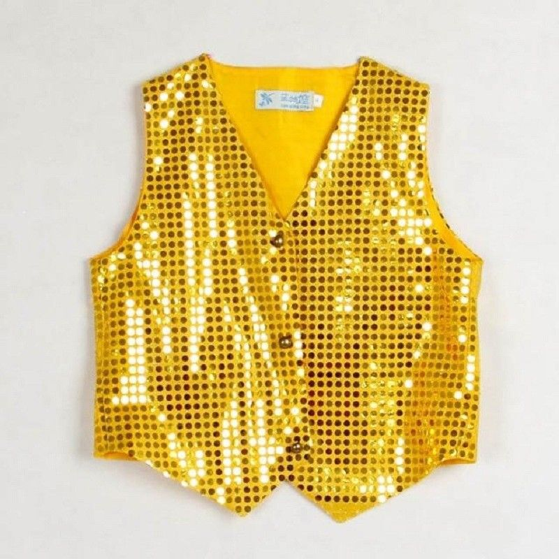 iEFiEL Kids Boys Long Sleeves Shiny Sequined Stage Performance Shirt Jazz Dance Wedding Top Suit