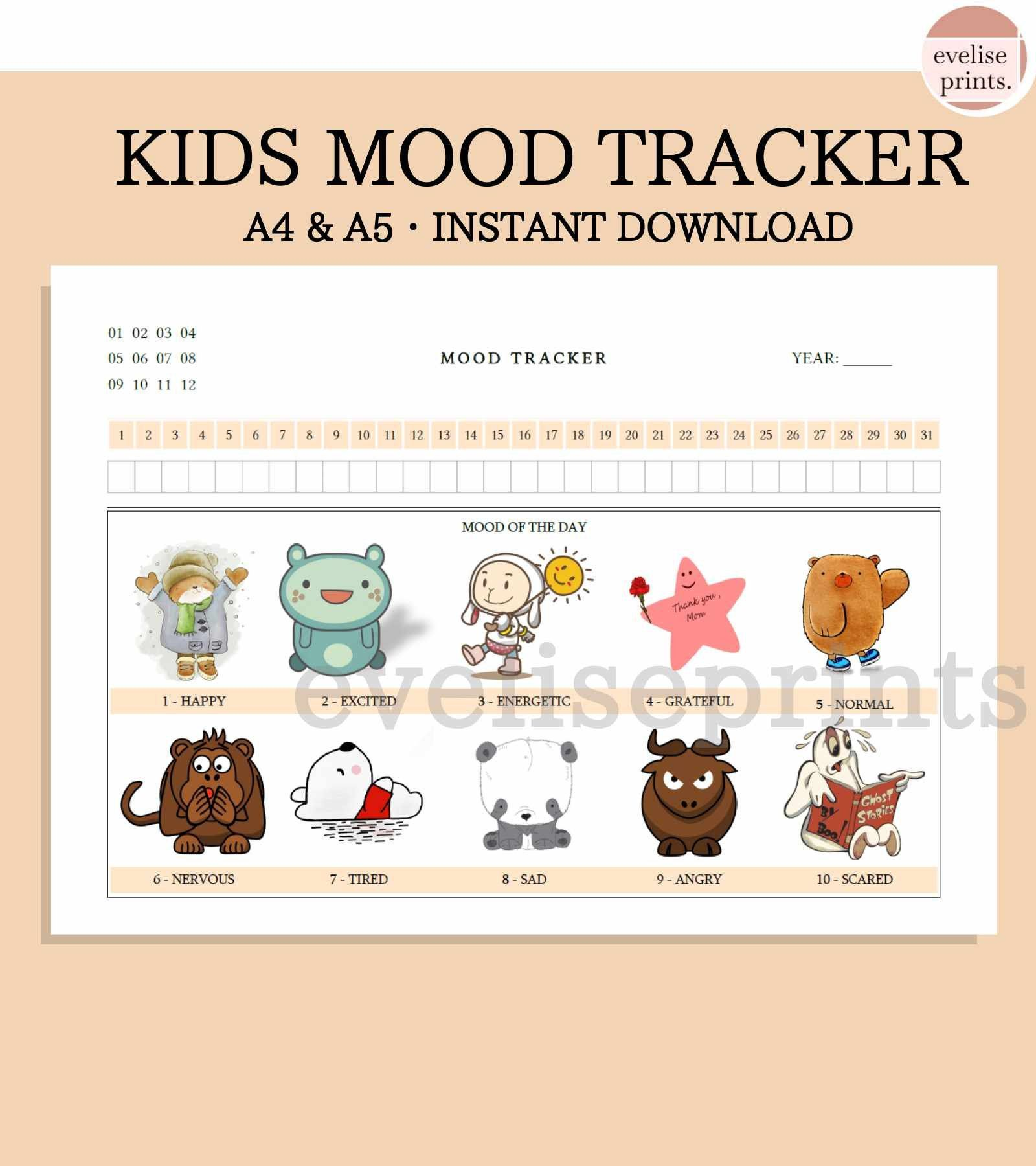 Kids Mood Tracker Printable A4 Amp A5