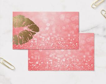 Business Card Template Lipsense Senegence Business Card Pink Glitter And Gold Instant Download Diy Blank Business Cards Card Template Business Card Template