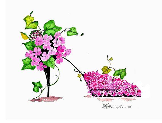 Princesse Rose Jardin Fleur Chaussure Print Aquarelle Signee Et