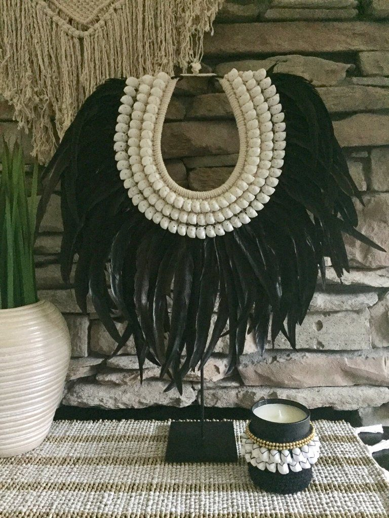 Large Tribal Feather Shell Necklace Tribal Feather Tribal Decor African Inspired Decor