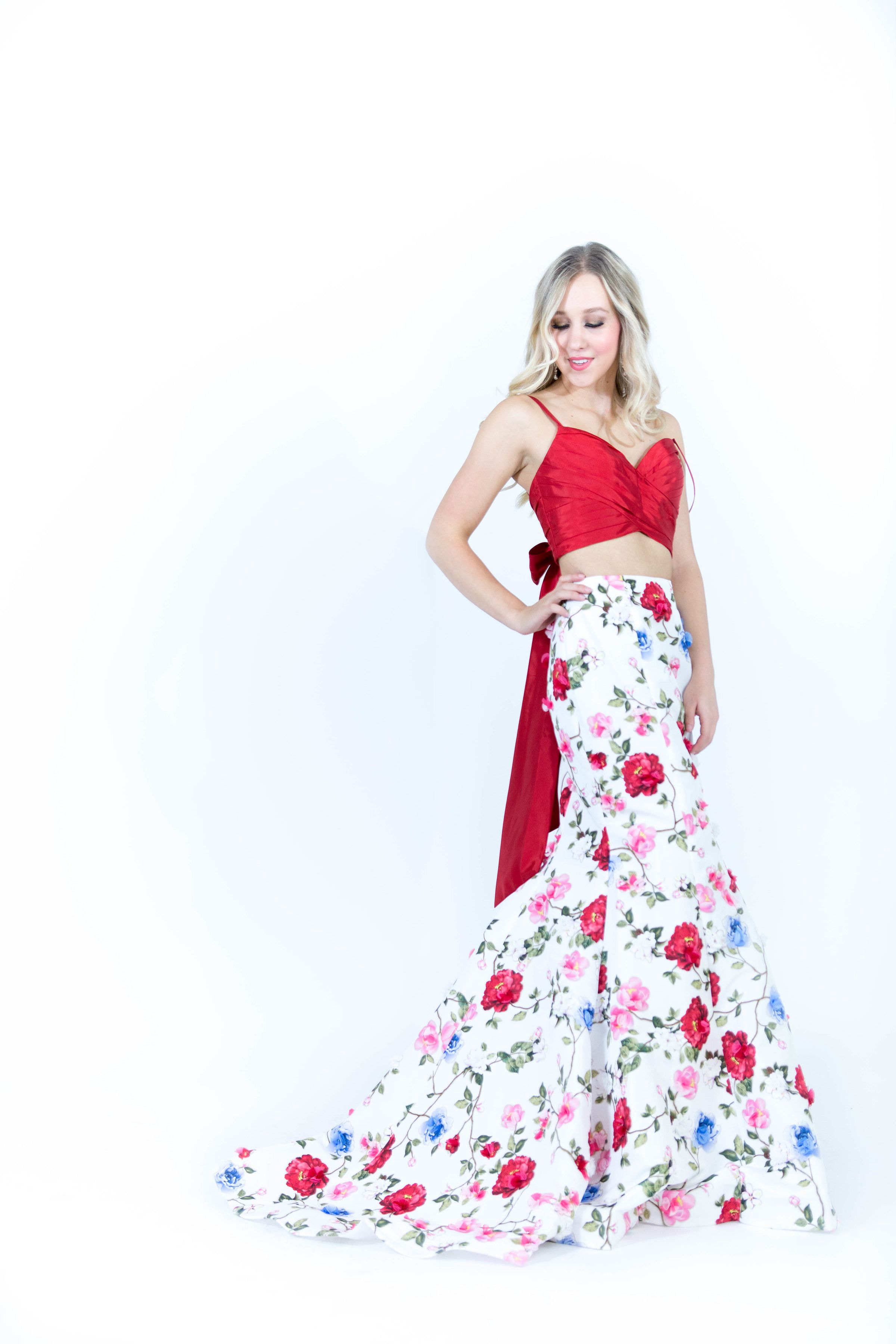 f96e7c04b26 Sherri Hill 2 Piece Red and White Multi colored floral print with 3D flowers  appliqué Ypsilon Dresses in SLC Utah Prom Pageant Evening Wear School Dance  ...