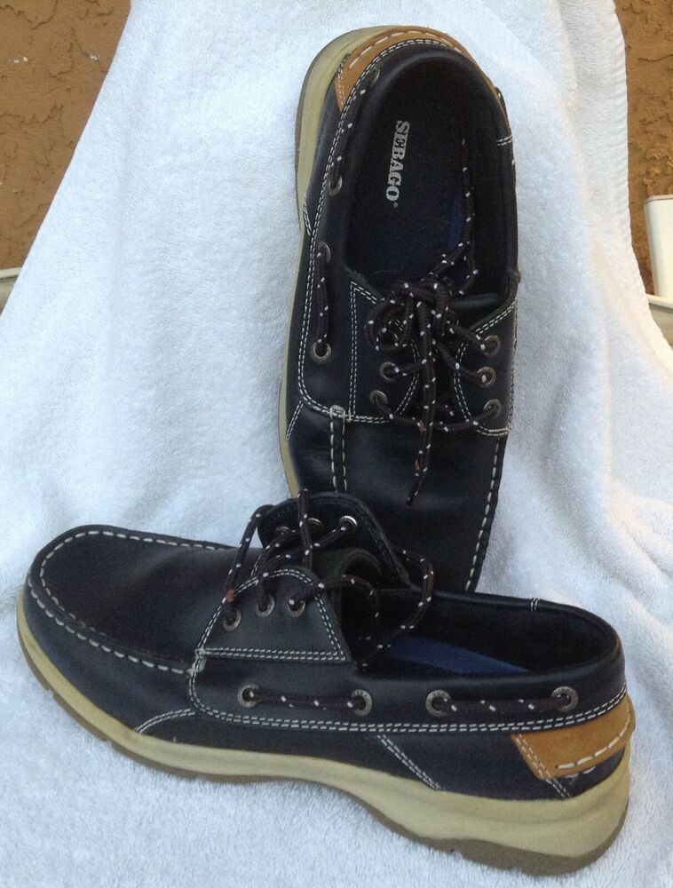 b54508afad8 Nice Sebago Blue Fin Ox Men s Navy Boat Shoes-Size 10 M bluefin Oxford  leather