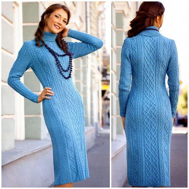 Зимние платья спицами схемы