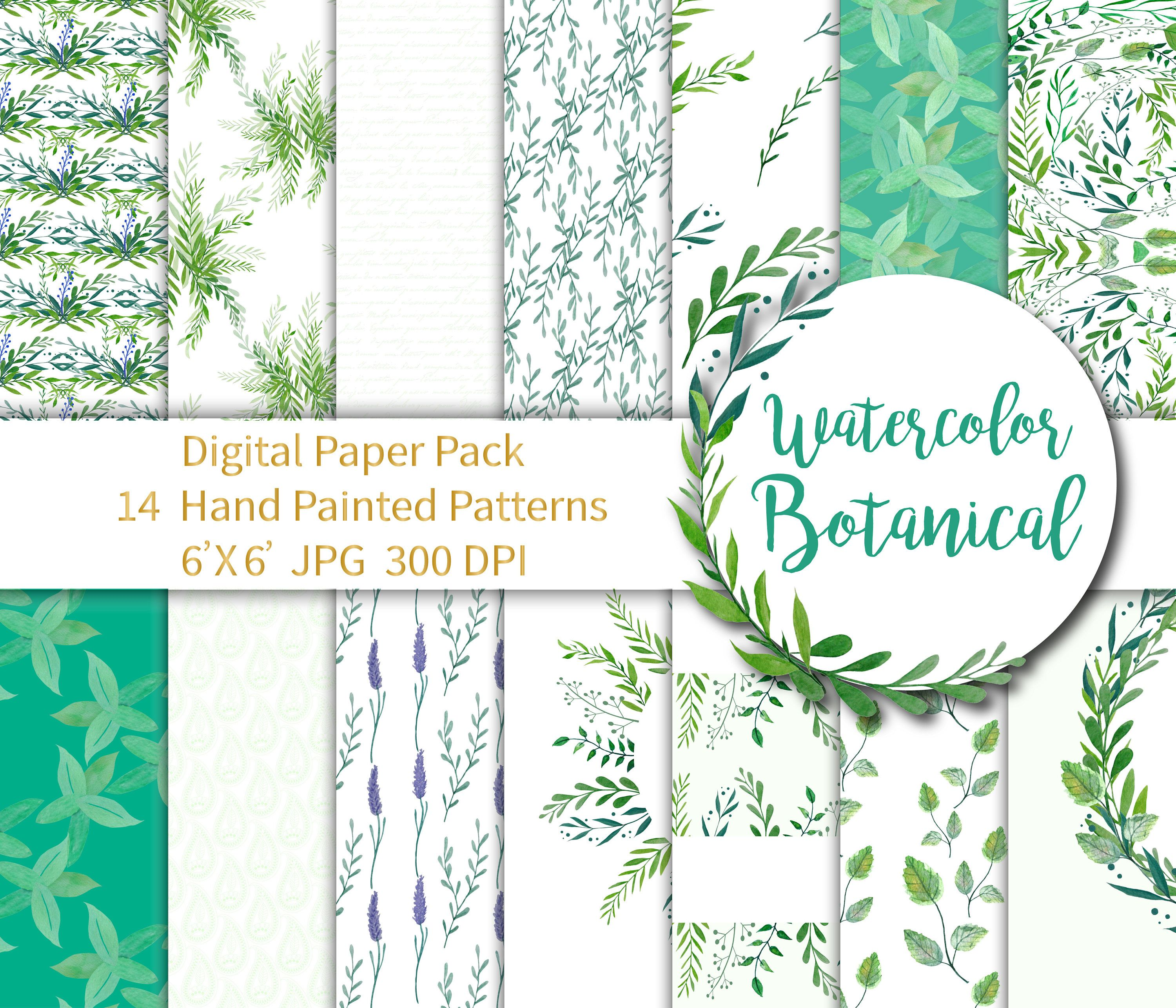 Herbal Paper Pack, Botanical Digital Herbal Digital, Green Wedding Paper, Botanical Paper Greenery, Watercolor Paper Seamless Pattern 6X6 by annakristal on Etsy