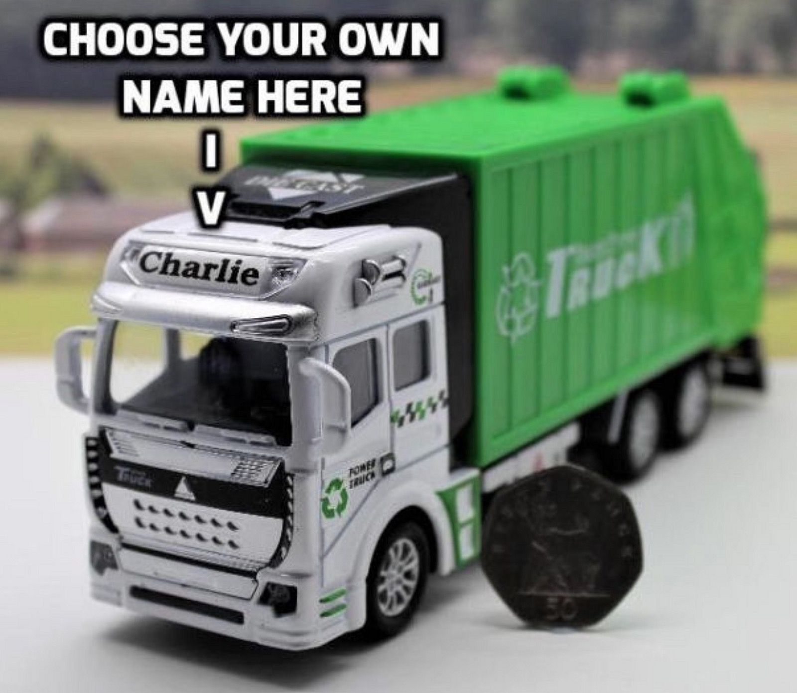 Personalised Name Green Dustbin lorry/Garbage Truck toy