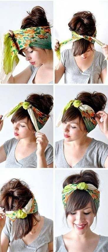 #Bandana #bob #Hairstyles #Ideas #scarf Frisuren kurz #Short Hairstyl
