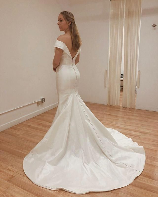 Cheap Off Shoulder Satin Bridal Dress, Backless Mermaid