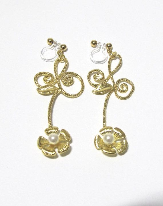 Flower Stem clip on earring 35G Pearl Floral by boadNNcraft