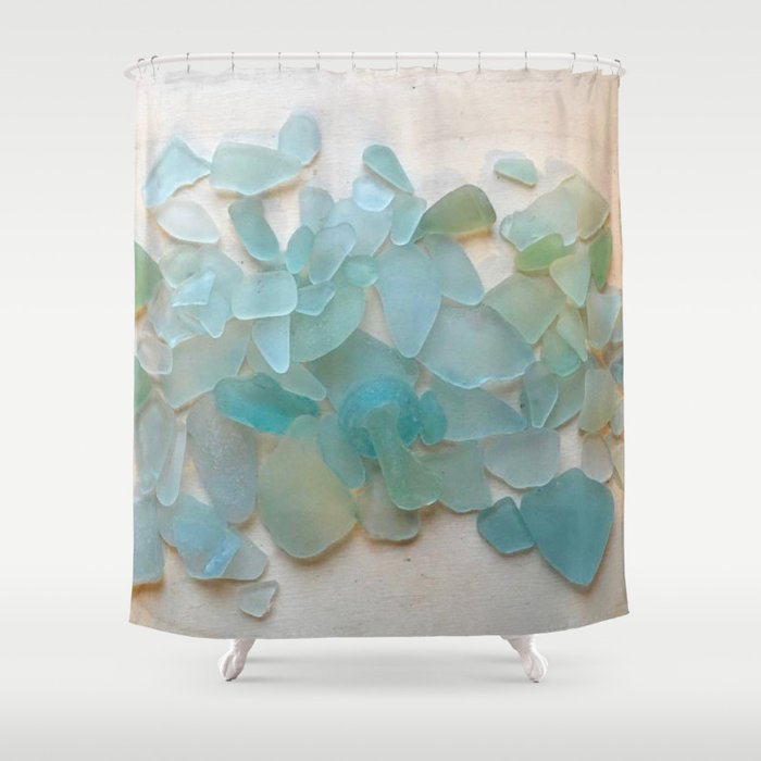 Ocean Hue Sea Glass Shower Curtain In 2020 Boho Shower Curtain