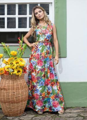 d4bc6d127 Vestido Longo Recorte na Cintura (Floral). Vestido Longo Recorte na Cintura  (Floral) Queima De Estoque ...