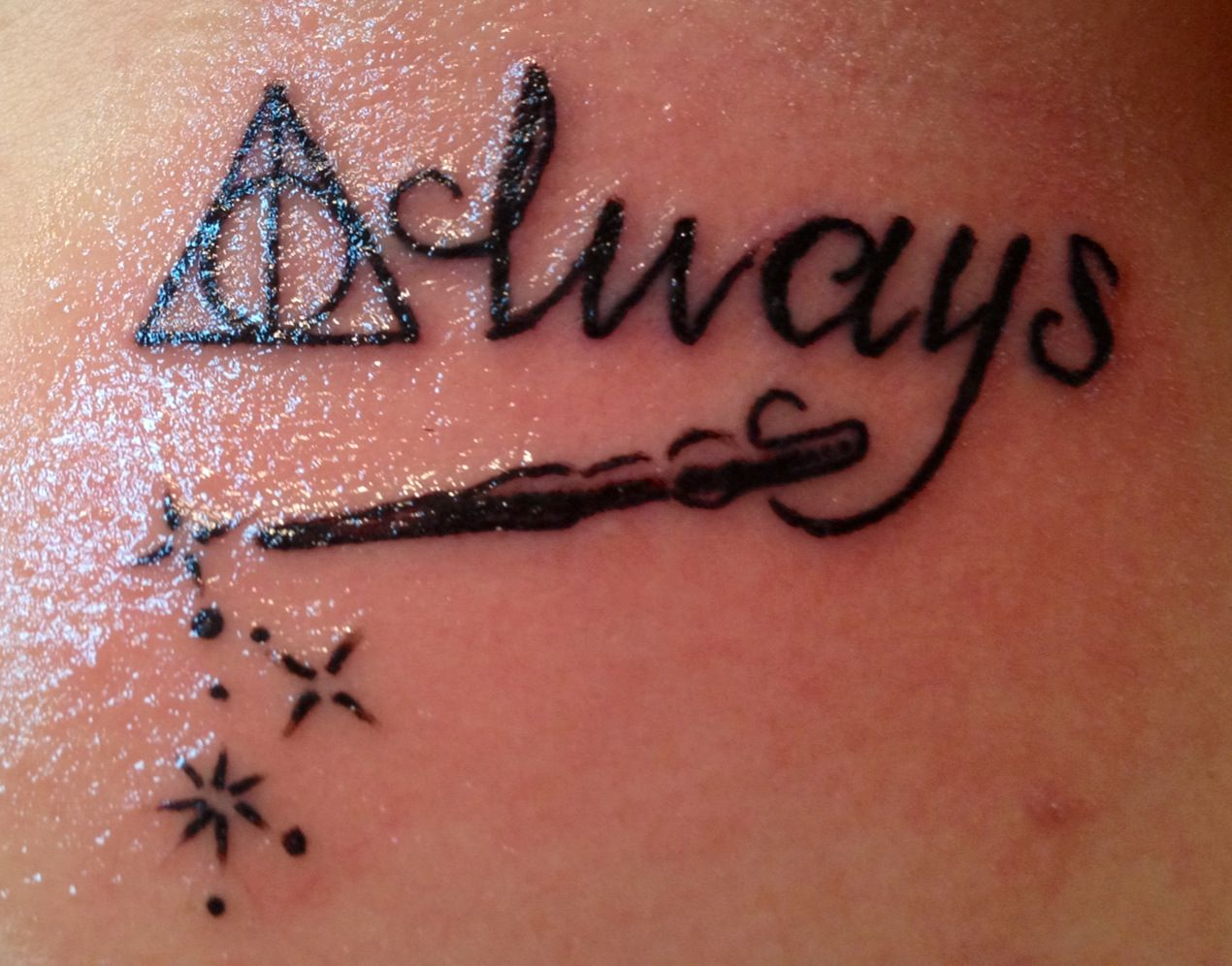 My daughters new body art. Deathly hallow symbol with always tattoo. Thanks Chris @ California Tattoo Company in Savannah