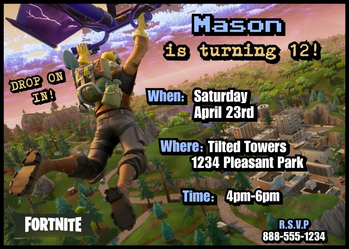 FORTNITE party invitations! -birthday printables -invites