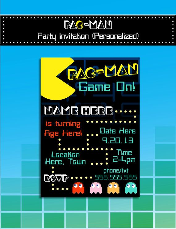 PacMan Party Invitation Printable Personalized S Party Theme - Video game birthday party invitation template free