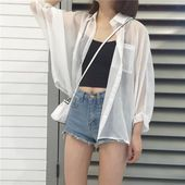 Buy White Light Summer Coat Buttons Blouse Cheap Trendy Aesthetic Clothes and Gr...