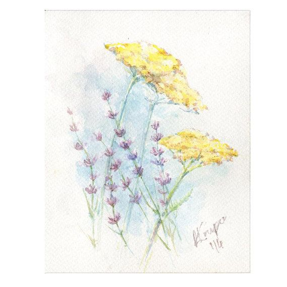 Watercolor Art Lavender And Fernleaf Yarrow By Anyasartworks Plant Art Rustic Artwork Art
