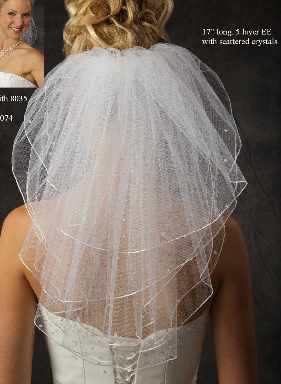 Jl johnson bridal short layer veil with crystals many colors