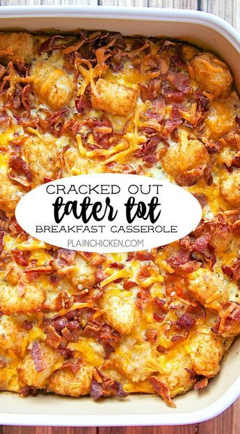 breakfast casserole #breakfast Cracked Out Tater Tot Breakfast Casserole - great make ahead recipe! Only 6 ingredients!! Bacon, cheddar cheese, tater tots, eggs, milk, Ranch mix. Can refrigerate or freeze for later. Great for breakfast. lunch or dinner. Everyone loves this easy breakfast casserole!!