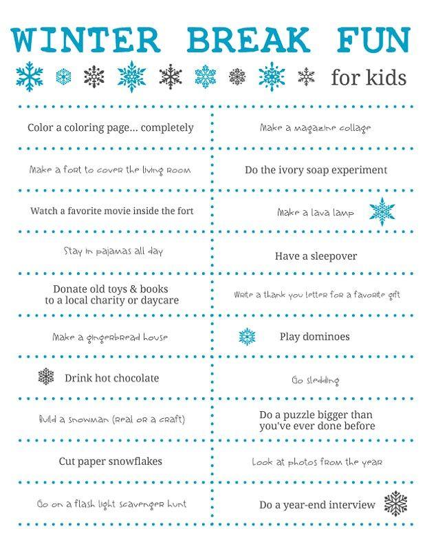 Fun Things To Do Over Winter Break For Kids Free Printable Winter Break Bucket List Winter Break Winter Break Activities