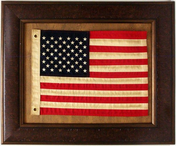 Details About Antiqued Cloth American Flag Framed Real