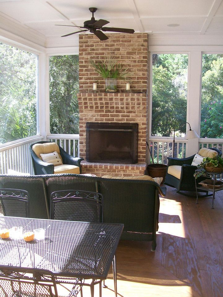 Porch with fireplace net weaver 39 s place allison ramsey for Ramsey fireplace