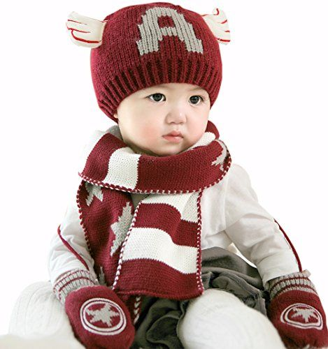 4e2b0fa6753cc GZMM Infant Toddler Baby Winter Beanie Hat Scarf and Gloves Set  624monthswine red    ON SALE Check it Out