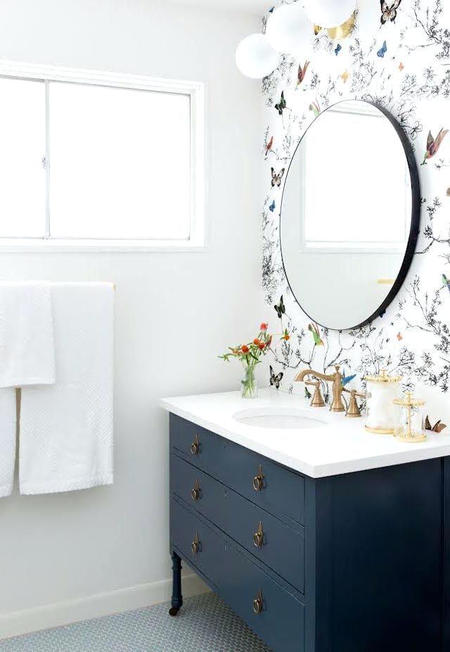Wallpaper In Bathroom Ideas Best Bathroom Wallpaper Ideas On Wall Paper Bathroom Powder Room A Modern Farmhouse Bathroom Bathroom Inspiration Bathroom Makeover