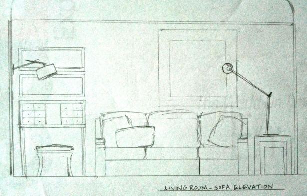 modern luxe living room – elevation sketchlisa k. tharp. © 2012