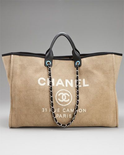 7a1264e5382 Chanel Beige Canvas   Black Leather Oversized Tote
