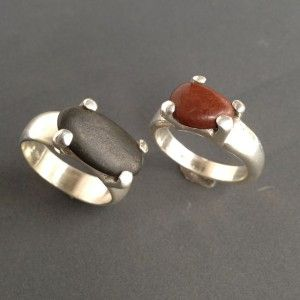 Two #BeachPebble rings #sandcast Silver
