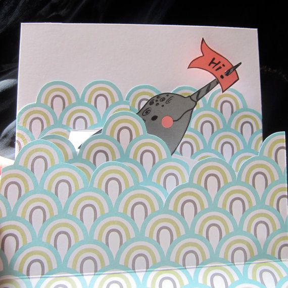 Pop-up narwhal card.